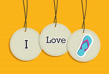 flip flop: i love summer hanging labels symbols.  Illustration