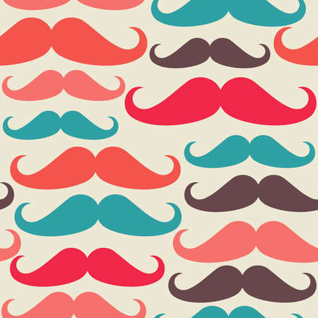 Hipster mustache seamless pattern sketch set .  Vector
