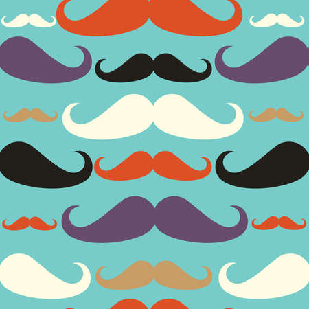 Hipster mustaches seamless pattern set.  Vector
