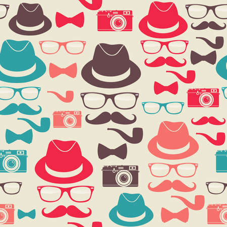 indie: Indie hipster seamless pattern set.