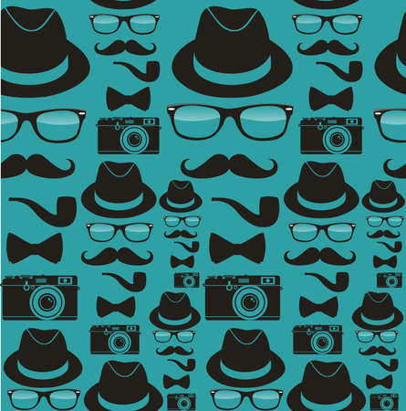 Vintage hipster style accessories seamless pattern set. Vector