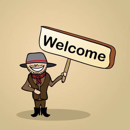 identidad cultural: Trendy Man australiano saluda la celebraci?e un bosquejo cartel de madera.