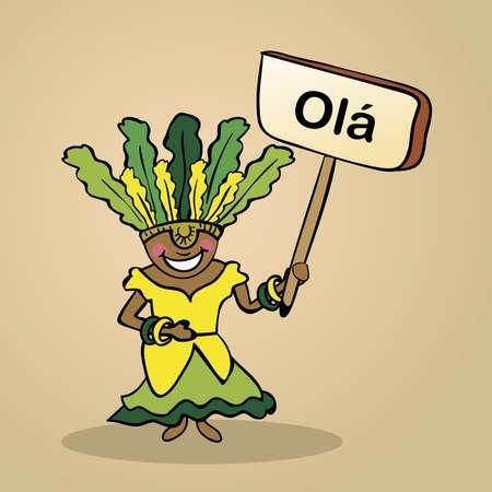 identidad cultural: Mujer brasileña de moda dice Hola sosteniendo un bosquejo cartel de madera.