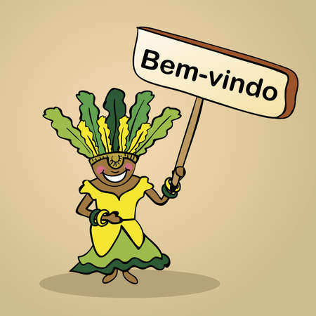 identidad cultural: Mujer brasile�a de moda dice bienvenido sosteniendo un bosquejo cartel de madera. Vectores