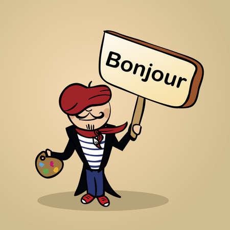 Trendy französisch Mann sagt Hallo mit einem Holzschild Skizze. Vektorgrafik