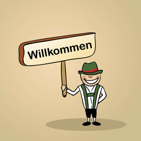 multi cultural: Trendy german man says welcome holding a wooden sign sketch.
