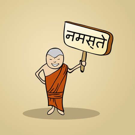 identidad cultural: Hombre Hindi moda dice Hola sosteniendo un bosquejo cartel de madera. Vectores