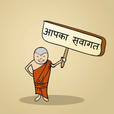 identidad cultural: Hombre hindi moda dice bienvenido sosteniendo un bosquejo cartel de madera.