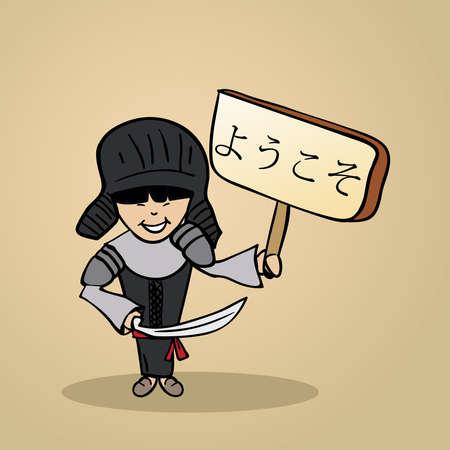 identidad cultural: Hombre japon�s de moda dice bienvenido sosteniendo un bosquejo cartel de madera.