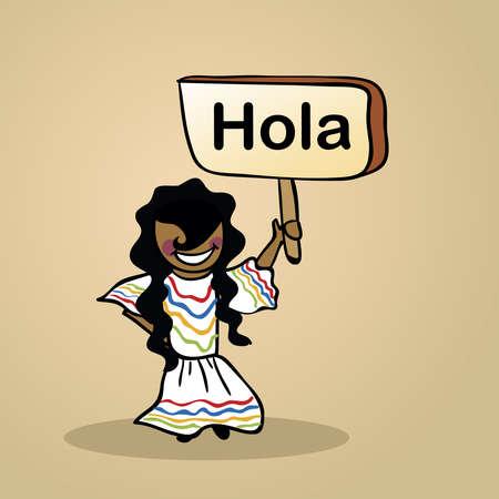 donna spagnola: Trendy donna spagnola dice Ciao in possesso di un segno schizzo di legno.