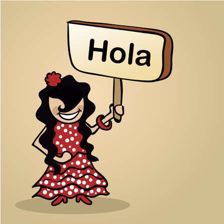Trendy spanish woman says Hello holding a wooden sign sketch. Illustration