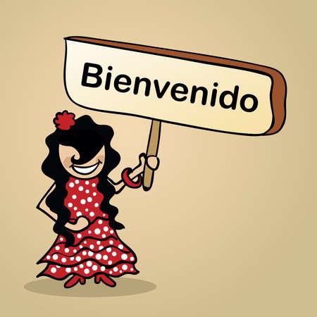 donna spagnola: Trendy donna spagnola dice benvenuto con un cartello in legno schizzo.
