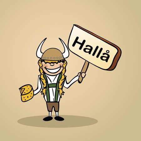 Trendy swedish man says Hello holding a wooden sign sketch. Illusztráció