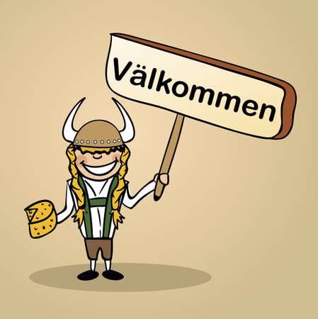 identidad cultural: Mujer de moda sueco dice bienvenido sosteniendo un dibujo cartel de madera.