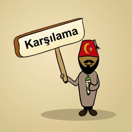 identidad cultural: El hombre de moda turco dice bienvenido sosteniendo un dibujo cartel de madera.
