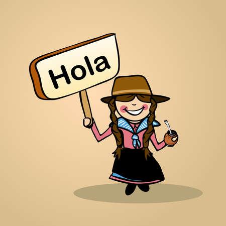 identidad cultural: Moda mujer uruguaya saluda la celebración de un boceto cartel de madera. Vectores