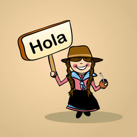 spanish culture: Trendy uruguayan woman says Hello holding a wooden sign sketch.