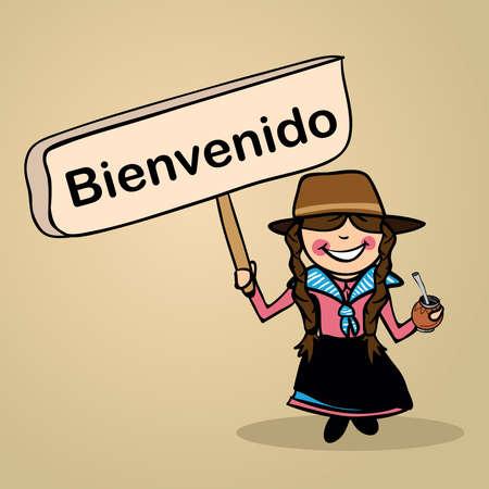 identidad cultural: Moda mujer uruguiayan dice bienvenido sosteniendo un bosquejo cartel de madera.