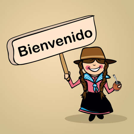 multi cultural: Trendy uruguiayan woman says welcome holding a wooden sign sketch.