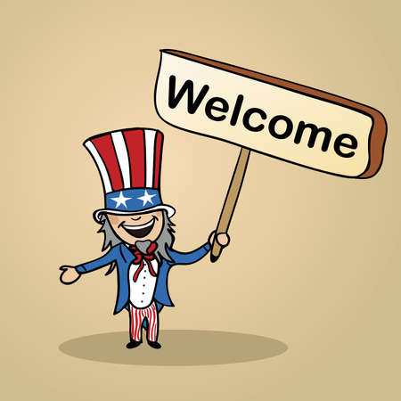 Trendy american man says welcome holding a wooden sign sketch. Stock Vector - 20607228