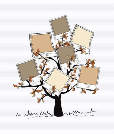 family clipart: Brown instant photo Albero di disegno del foglio.