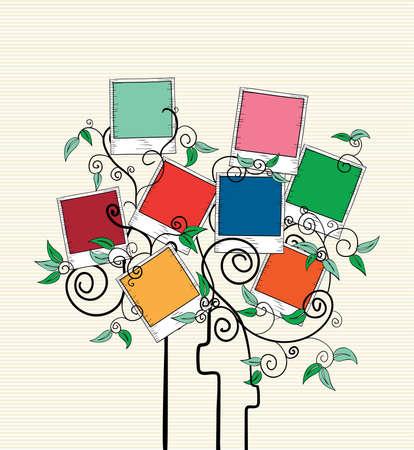 Diseño colorido instantánea de fotos leaf curl árbol. Foto de archivo - 20607330