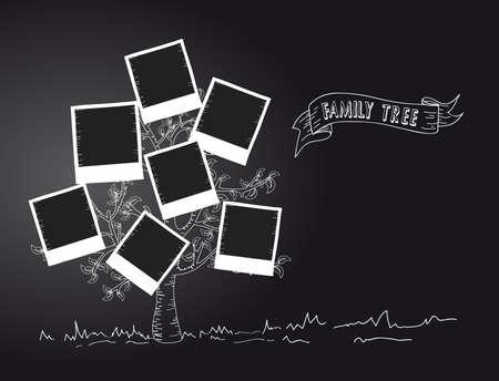 family clipart: Instant photo disegno albero a foglia in bianco e nero. Vettoriali