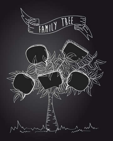 Black and white message communication speech bubble leaf family tree.  Vector