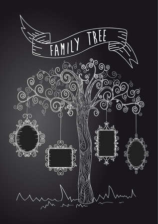 Trendy black and white old school leaf tree design. Vector