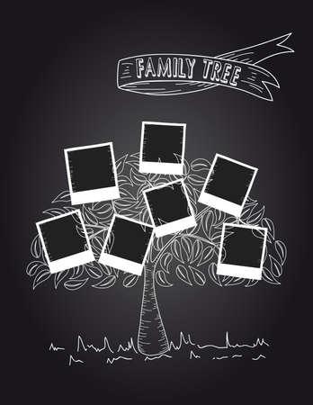 family memories: Trendy black and white instant photos leaf tree design.