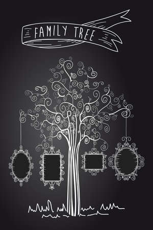 arbol genealógico: Diseño de moda en blanco y negro de la escuela vieja hoja de árbol.
