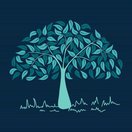 black family: Blue branches leaf tree stripes background design.  Illustration