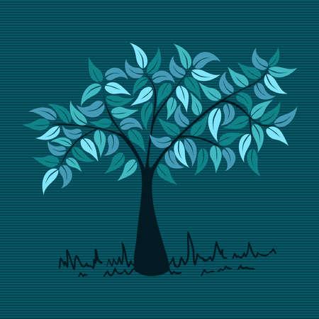 tree plan: Blue branches leaf tree stripes background design.  Illustration