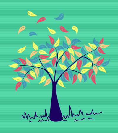 Colorful branches leaf tree with stripes background design. Stock Vector - 20607319