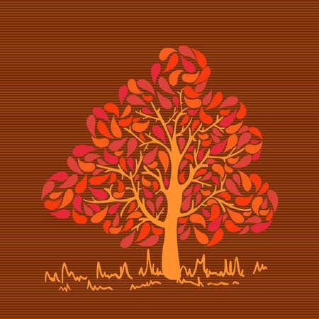 arbol geneal�gico: Oto�o colorido colores �rbol de hoja sobre fondo de rayas.