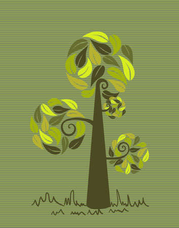 Green branches leaf tree stripes background design. Stock Vector - 20607311
