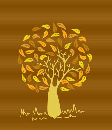 Gold branches leaf tree stripes background design. Stock Vector - 20607275