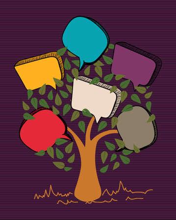 Bulle message de feuille d'arbre rayures conception de fond coloré. Banque d'images - 20607343