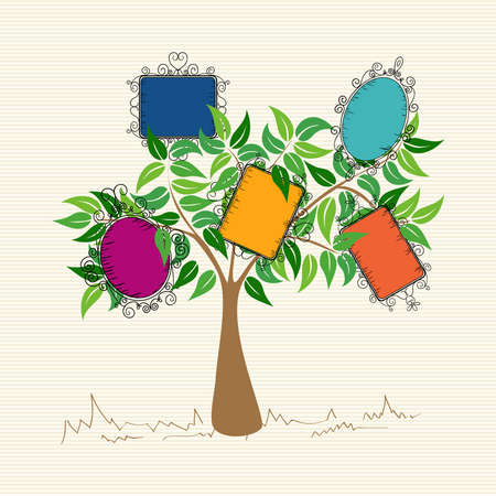Trendy colorful old school leaf tree design.  Illustration