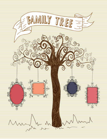 family picture: Colorful old school leaf tree stripes background design. Illustration