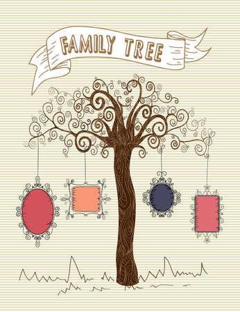 arbol genealógico: Árbol de hoja rayas diseño de fondo de la vieja escuela de colores. Vectores