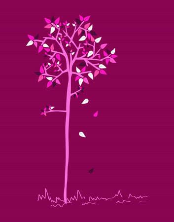 Violet branches leaf tree stripes background design. Stock Vector - 20607378