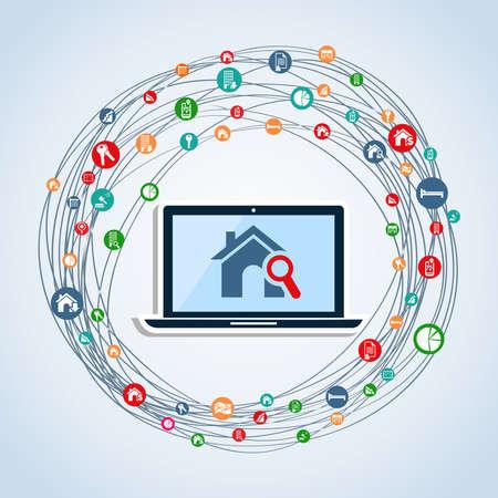 icone immobilier: V�ritable ic�ne immobilier portable mis en silhouette isol� sur blanc.