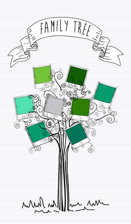 collage art: Trendy instant photo leaf tree isolated design.  Illustration