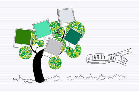 カラフルなインスタント写真の葉のツリーの設計。  イラスト・ベクター素材