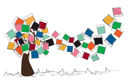 pile of documents: Colorful instant photo leaf tree design.