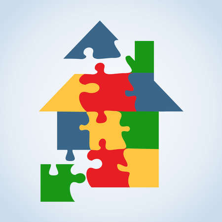 Real estate icon jigsaw house set in tree isolated silhouette over white. Stock Vector - 20607182