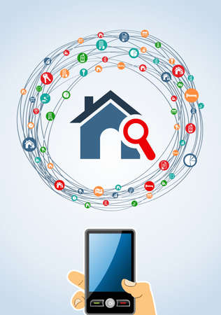 iconillustration: Real estate icon smart phone set in  isolated silhouette over white.  Illustration