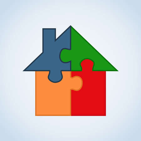 iconillustration: Jigsaw home silhouette set in isolated white. Illustration
