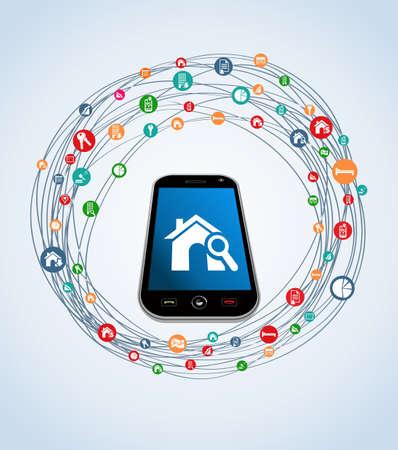Icono de bienes raíces ubicado alrededor de teléfonos inteligentes en perspectiva.